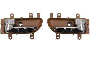Interior Inside Door Handle Brown Chrome Lever Left Right Pair For Nissan Murano
