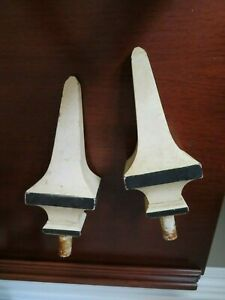 Antique Pair Of Turned Wood Finials French Architectural Home Decor 10 Tall