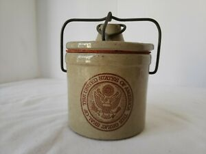 Vintage Cheese Crock The Great Seal Of United States Of America