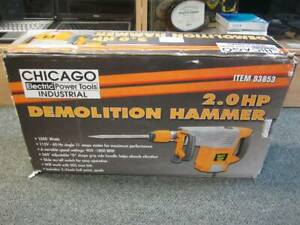 Chicago Electric 93853 Industrial 2hp Demolition Hammer W 2 Bits Msrp 250