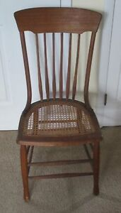 Solid Oak Hand Caned Antique Side Chair Rich Natural Patina Elegant