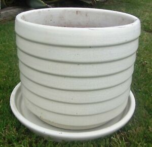 Massive Vintage Mid Century Modern Architectural Ribbed Planter Us Pottery Mcm