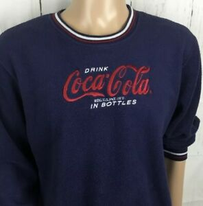 Vintage Coca Cola Sweater Fleece Pullover Retro Embroidered Crewneck Sz L 11-13