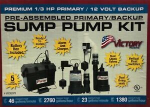 Victory Premium 1 3 Hp Primary 46gpm 12v Backup 23gpm Dual Sump Pump Kit 92971