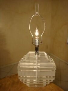 Amazing Vintage Mid Century Stacked Lucite Slabs Lamp