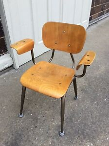 Vintage School Craft Co Mid Century Wood Metal Chair W Arms Good