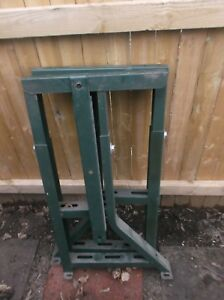 Vintage Metal Table Base Sewing Machine Work Bench Legs Green With Pedal