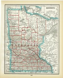 Beautiful 1893 Antique Atlas Map Of Minnesota And North Dakota
