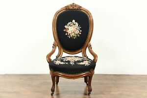Victorian Antique 1860 Hand Carved Walnut Chair Needlepoint Upholstery