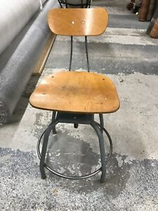 Vintage Hallowell Drafting Stool Adjustable Industrial Architect S Antique Chair