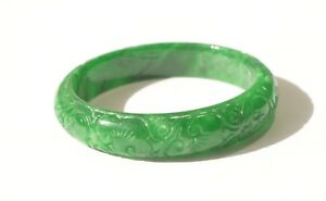 Vintage Natural Imperial Green Jadeite Jade Hand Carved Flower Bangle Bracelet