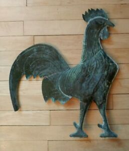 Antique Large Copper Rooster Weathervane Green Patina Top Only Farm Folk