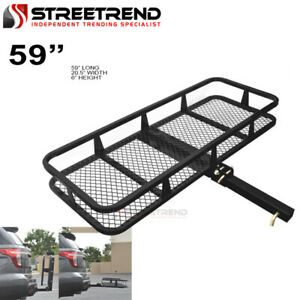 59 Blk Steel Foldable Trailer Tow Hitch Cargo Carrier Basket For 2 Receiver Sc