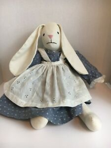 Primitive Rag Stuffed Rabbit Doll Bunny 19 Tall Has A Tag See Pictures