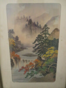 Antique Chinese Painting On Silk Of Landscape
