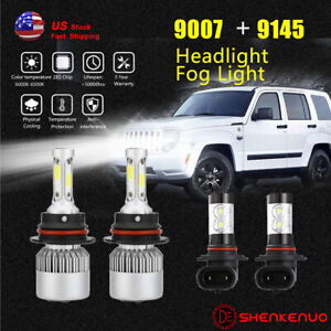 For Jeep Liberty 2002 2007 Led Headlight Fog Lights Bulbs 9007 Hb5 9145 4pc