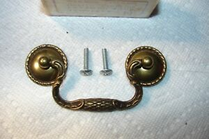 Brand New Vintage National Lock Drawer Pull French Gilt R633 Brass Finish 4 1 2