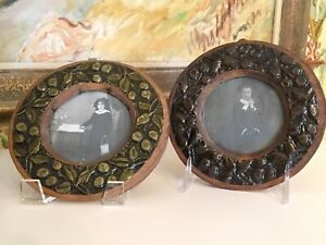 Antique Wooden Picture Frames Holland Hand Carved With Original Photographs Pair