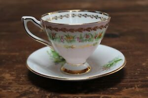 Vintage Clare Bone China Tea Cup And Saucer England Pink White