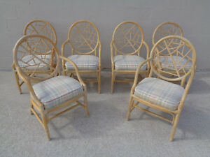 Vintage Set 6 Six Tlc Mcguire Style Rattan Cracked Ice Rawhide Laced Arm Chairs