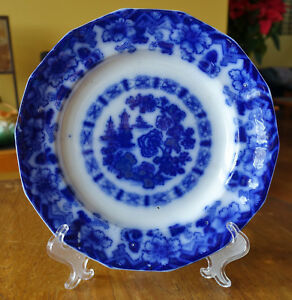 Lovely Antique Flow Blue Staffordshire Plate E Challinor Rock Pattern Rare