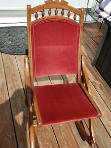 Antique Rocker Folding Chair Red Velvet Victorian Sewing Rocking Chair