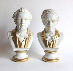 Pair Of Antique Scheibe Alsbach Porcelain Busts Of Composers Schubert
