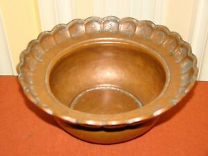 Antique Handmade Carved Copper Arabic Persian Islamic Bowl Dish