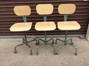 3 Vintage Lift Lol Adjustable Drafting Stools W Backs On Wheels Very Good