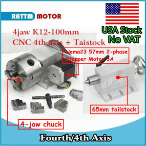 in Usa cnc K12 100mm Rotary Axis 4th Axis 4 Jaw Chuck Ratio 6 1