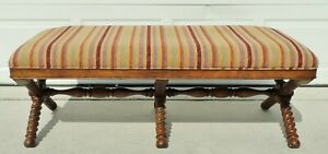 Large Vintage 54 Solid Oak Wood Carved Barley Twist Upholstered Striped Bench