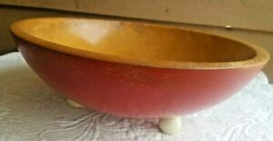 Munsing Maple Wood Bowl Dough Large Vintage Old Primitive Red Bottom Feet