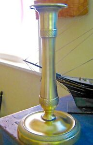 Early 1800s Antique Brass Candlestick With Bands Of Decoration 8 5 8 Tall