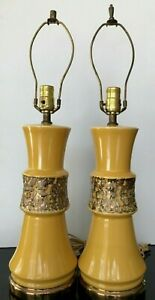 Table Lamps Mcm Pair 2 Ceramic Hourglass Fat Lava Yellow Gold