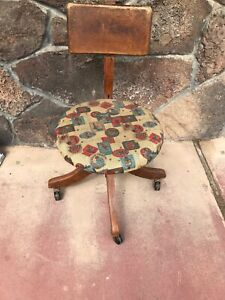 Antique Oak Heywood Wakefield Brothers Swivel Chair 9th Inf Indian Tobacco