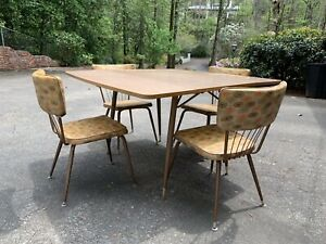 1961 Daystrom Mid Century Modern Dinette Table 4 Chairs Kitchen Drop Leaf