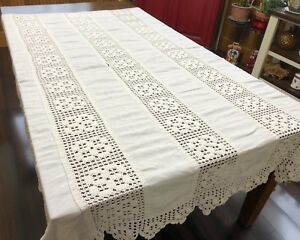 Antique White Linen Crochet Lace Full Double Coverlet Or Bedspread Rf923
