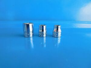 Used Snap On 3 8 In Dr 10 11 16 Mm Short 6 Pt Sockets Lot Of 3