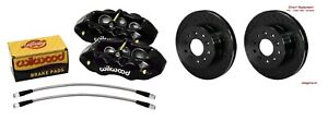 Wilwood Front Caliper Rotor Set d8 6 Piston Black Calipers 1965 1982 Corvette