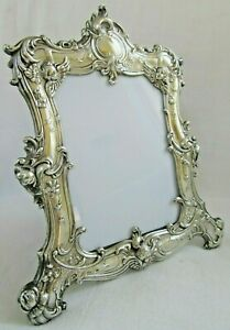 Big Vintage 9 5 Ornate Sterling Silver Picture Frame Gorham Cherub Repousse