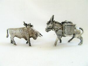 2 Vintage Sterling Silver Tooth Pick Match Holder Miniature Donkey Bull 925