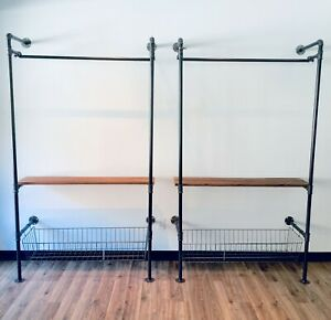 Industrial Pipe Wall Rack W wire Basket Wood Shelf Included