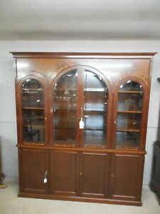 Georgian Style Mahogany Bookcase Lighted China Cabinet 96 H X 84 5 W