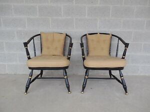 Rousseau Bros Barrel Back Spindle Black Painted Club Chairs Pair