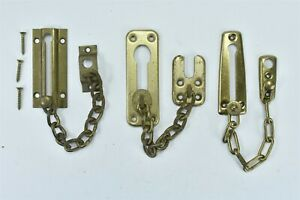 Vintage Lot 3 Plated Safety Chain Latch Door Lock Security Night Slide 07021