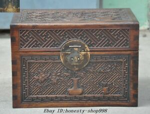 Chinese Huanghuali Wood Carved Flower Pattern Treasure Chest Jewelry Storage Box
