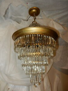 Vintage Crystal Chandelier 5 Tier Wedding Cake Ceiling Light W Old Prisms