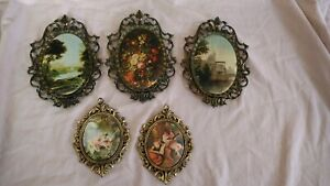Vintage Lot Of 5 Ornate Frames W Victorian Prints Italy Wall Art Fabric Picture