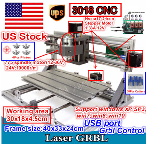 usa Stock 3 Axis Diy Desktop Cnc Router Kit 3018 Milling Engraver Laser Machine