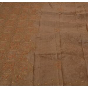 Tcw Vintage Brown Saree Pure Silk Hand Beaded Craft Fabric Cultural Sari